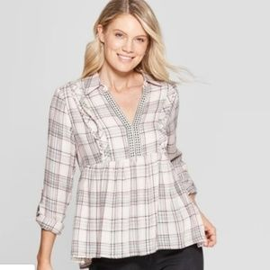 Women's Pink Plaid Long Sleeve Collared Popover